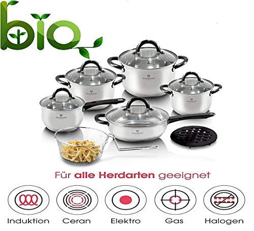 Ertex 13 TLG. Kochtopfset Induktion Pfannen-Set Topf-Set Edelstahl Töpfe Kochtopf Set (BL-3245)