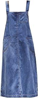 [イダク] レディース デニムワンピース 体型カバー ジャンパースカート サロペット デニム 大きいサイズ