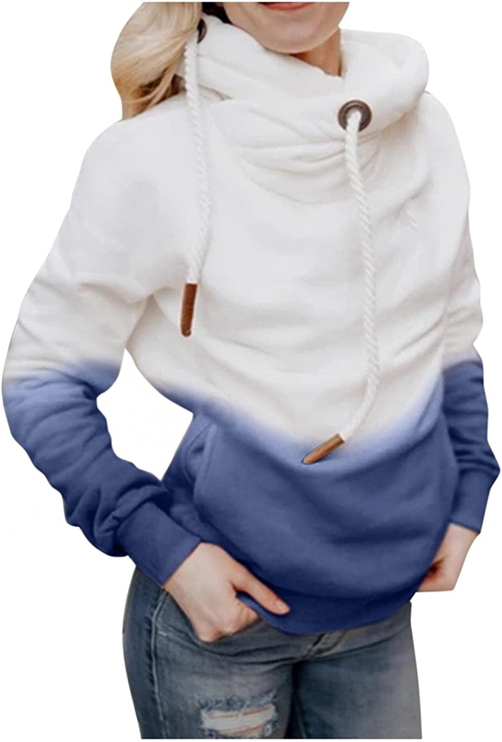 Womens Hoodies Pullover Pullover Sweatshirts Drawstring Hooded Casual Cowl Neck Long Sleeve Colorblock Tops with Pockets