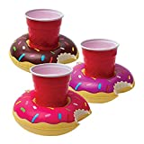 BigMouth Inc. Inflatable Donut Drink Holder Float, 3-pack, Chocolate, Strawberry and Berry Colored Floats, Great for Pool Parties and Special Events , MultiColor, One Size