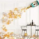 FENRIR 41 globos de botella de champán, globo de helio de látex de confeti dorado con papel de aluminio, guirnalda de globos para cumpleaños, graduación, compromiso y celebración de bodas