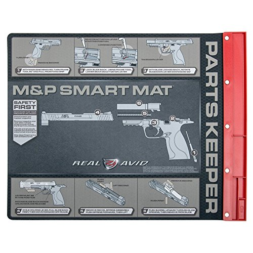 """Real Avid Smart Mat for Smith & Wesson M&P Platform: 19x16"""", Pistol Cleaning Mat with Disassembly Instructions, Integrated, Magnetic Parts Tray, Heavy-Duty, Oil-Resistant, Solvent-Resistant Protect"""