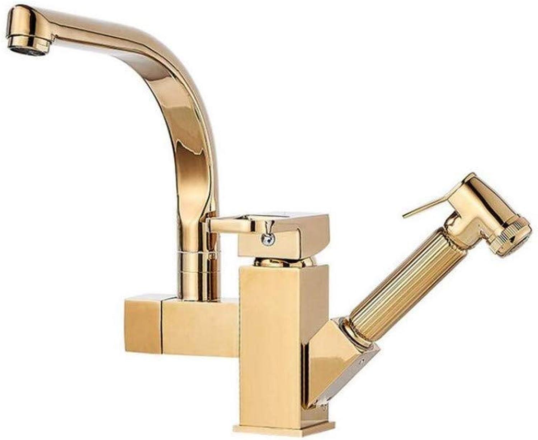 Wasserhahn sinken voll Kupfer ziehen kaltes Wasser und heiem Wasserhahn Goldenen Druck