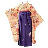[京のみやび]卒園式 七五三 女の子着物袴セット 小紋 ちょっと小さめ 黄 疋田に雪輪/紫刺繍 60cm