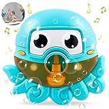 Máquina de Burbujas de Baño,Ducha de Niños Baño de Burbujas Juguetes, Juguete de Baño de Burbujascon,Sopla Bubble MakerJuguetes del Baño Pulpo de Burbuja con Música Infantil para Niños (azul)