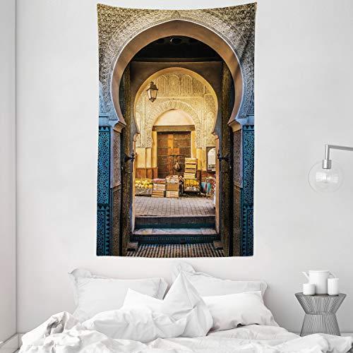 ABAKUHAUS marocain Tapisserie, Motif marocain de, Facile à Nettoyer, 140 x 230 cm, Bleu Beige