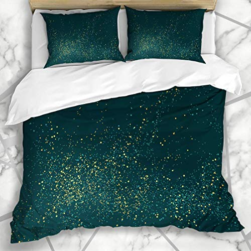 779 LIICOCO Duvet Cover Setss Outburst Green Christmas Emerald Golden Powder Splash Abstract Gold Birthday Celebration Chic Microfiber Bedding with 2 Pillow Shams