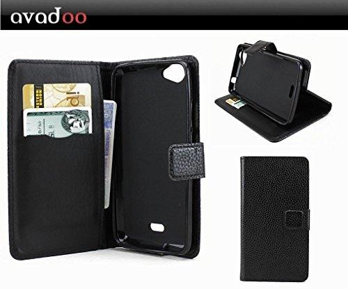 avadoo® Wiko Rainbow Jam 3G & 4G Flip Hülle Cover Ledertasche Schwarz mit Magnetverschluss & Dualnaht als Cover Tasche Hülle