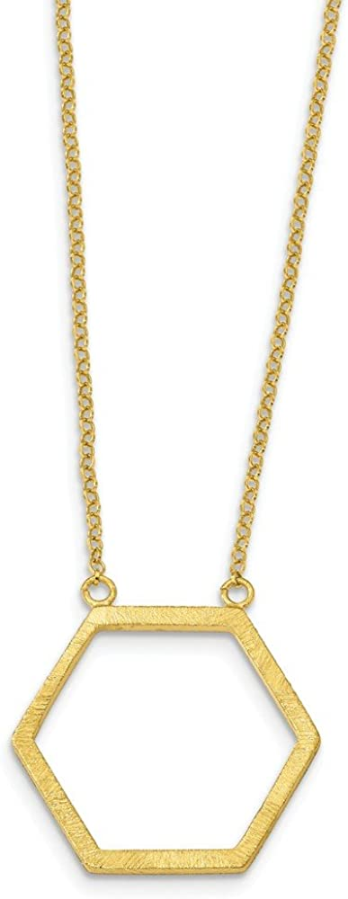 925 Sterling Silver Yellow Gold-Tone in We OFFer at cheap prices Extension Hexagon Pend Be super welcome 2