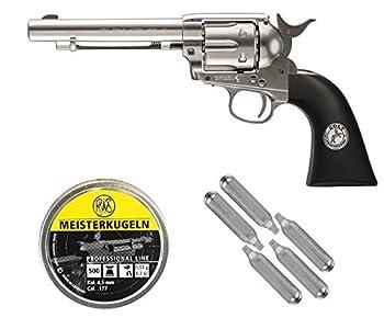 Umarex Colt Peacemaker Single Action .177 Cal Pellet Airgun Package  500ct .177 Pellets & 5 Pack of 12g CO2 Cartridges