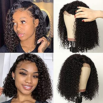Short Curly Bob Lace Closure Wigs 4x4  Human Pre Plucked Natural Hairline Baby Hair Jerry Curl Virgin Hair Lace Front Wigs for Women 150% Density Can be Dyed 12 inch