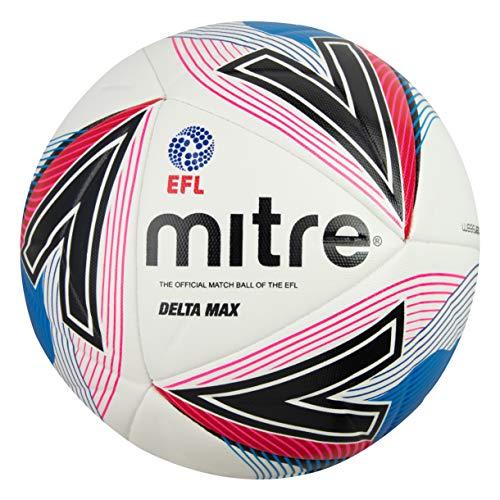 Mitre Delta - Pallone da calcio, unisex, colore: Bianco/Blu/Rosso, 5