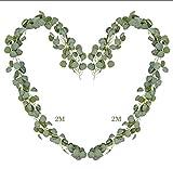 Fullsexy 2 x 2M Eukalyptus Künstliche Pflanze Hängen, Weihnachten Efeu Dekoration, Reben Blätter Kunstpflanzen Girlande für Garten Balkon Hochzeit Party Wand Dekor MEHRWEG