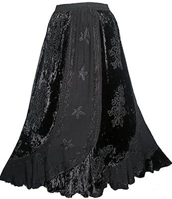 Agan Traders 552 Sk Women's Elastic Waistband Velvet Rayon Long Medieval Renaissance Vintage Skirt Maxi
