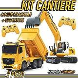 MGidea Kit Cantiere Camion Ribaltabile Escavatore CINGOLATO RADIOCOMANDATO Mercedes AROCS LIEBHERR R936 Mezzo Movimento Terra