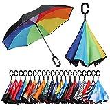Amazon Brand - Eono Paraguas Invertido de Doble Capa, Paraguas Plegable de Manos Libres Autoportante,Paraguas a Prueba de Viento Anti-UV para la Lluvia del Coche al Aire Iibre - Arco Iris