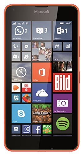Microsoft Lumia 640 smartphone (12,7 cm (5 inch) HD IPS-display, 1,2 GHz quad-core processor, 8 megapixel camera, 8 GB intern geheugen, Windows Phone 8.1), 4G/LTE single-sim, 8 GB, oranje