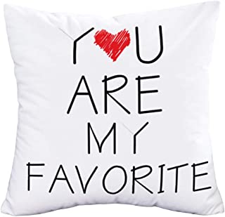 Easternproject You are My Favorite Quote Throw Pillow Covers 18x18 Inch Black White Words Letters with Sweet Heart Pillow ...