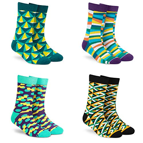 Dynamocks Men & Women Crew Length Socks (Combo Pack of 4 Pairs; Multicolour; Combed Cotton; Anti Odour; Breathable; Durable) Free...