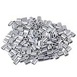 Bqlzr, boccole, clip, maniche, morsetti per fune, cavo da 1mm, ovale, in alluminio, conf...