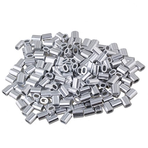 1mm Seilklemme Drahtseilklemmen Drahtseil Drahtseilklemme Stahlseil ALU Klemme Drahtseil Oval Aluminiumclip Ferrulenhülsen Klammer Packung von 200 Stück