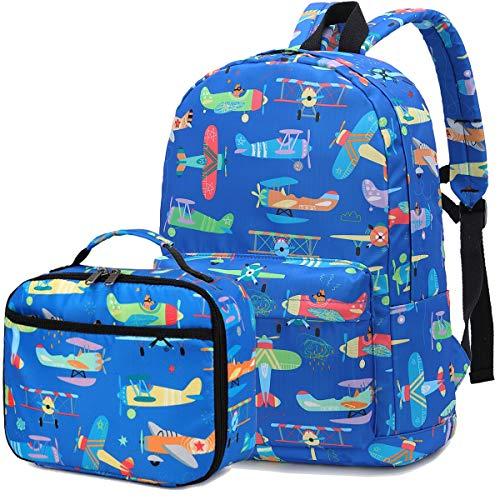 CAMTOP Preschool Backpack for Boys, Kids Backpack with Lunch Box Airplane Kindergarten School Bookbag Set (Y032-2/Dark Blue Airplane)