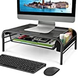 Mesh Metal Monitor Stand - Monitor and Printer Desk Riser with Pull Out Storage Drawer and Side Compartment Pockets - Holds up to 44lbs, Black - for Computers, Laptops, Printers (1 Pack)