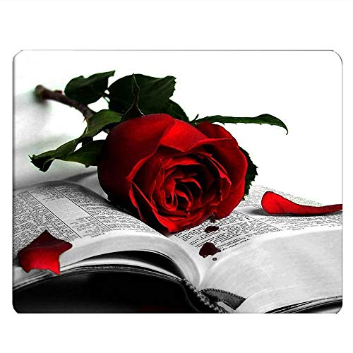 Nicokee Red Rose Gaming Mousepad Red Rose On Book Mouse Pad Mouse Mat for Computer Desk Laptop Office 9.5 X 7.9 Inch Non-Slip Rubber