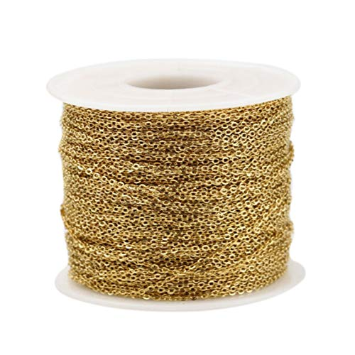 Asudaro 10 Meter Edelstahl Kabel Kette Metallkette Gliederkette Kabelkette Link Kette für Schmuck Herstellung Gold 2,5mm