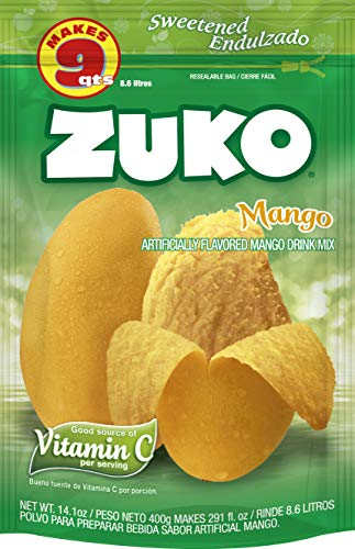 Zuko Mango Instant Powder Drink | Family Pack | No Sugar Needed | Vitamin C | 14.1 Ounce (Pack of 6)
