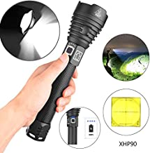 LED Torch 2500 Lumens Super Bright Aluminium Alloy Tactical Torch with Power Indicator USB Rechargeable 3 Modes Adjustable...