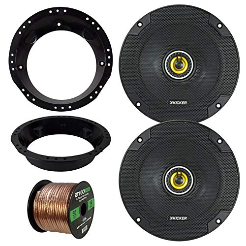 "98-13 Harley Speaker Bundle: 2X Kicker CSC654 6.5"" Inch 300 Watts 2-Way Black Car Stereo Coaxial Speakers Combo with Speaker Mounting Rings for Motorcycles, Enrock 50 Foot 16 Guage Speaker Wire"