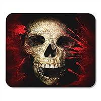 マウスパッド赤黒頭蓋骨と血ヴィンテージハロウィンテキスト解剖学血骨ラップトップ用マウスパッド、デスクトップコンピューターアクセサリーミニオフィス用品マウスマット