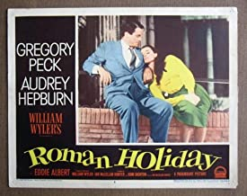 CT37 Roman Holiday AUDREY HEPBURN/PECK great '53 LC.  Here's a terrific lobby card from the original release of ROMAN HOLIDAY featuring a great image of AUDREY HEPBURN and GREGORY PECK.    Lobby card is in EXCELLENT- condition. Some pinholes, no stains, no tears.       A lobby card is an 11 x 14 inch placard advertising a movie. They were displayed in the theatre lobby to entice moviegoers to go to the box office and buy a ticket.
