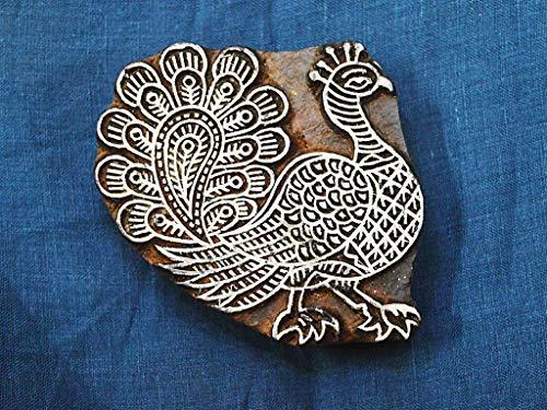 Bloque de madera de pavo real tallado a mano de 4 pulgadas de ancho, para costura decorativa india, manualidades, impresión de cerámica, sellos de madera