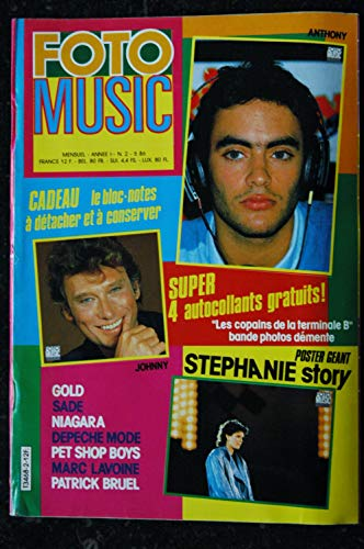 FOTO MUSIC 02 1986 COVER JOHNNY HALLYDAY GOLD SADE NIAGARA DEPECHE MODE PET SHOP BOYS BRUEL + POSTER STEPANIE
