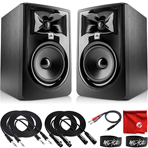 JBL Professional 305P MkII Next-Generation 5-Inch 2-Way Powered Studio Monitor Pair Bundle with 2x 10-Foot TRS Cable, 2x 10-Foot XLR Cable, Dual 1/4' Stereo to 3.5mm, 2x Ties and Microfiber Cloth