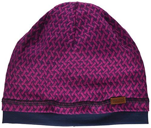 maximo Mädchen GOTS Beanie aus gemustertem Jersey Mütze, Rosa (Dunkel Pink Meliert 87), (Herstellergröße: 53)