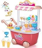 GeyiieTOYS Eiswagen Kinder Trolley Spielzeug mit Sound und Licht Lebensmittel Rollenspiel Pretend Toys (Rosa) für 2 3 4 5 6 jährige Mädchen Jungen
