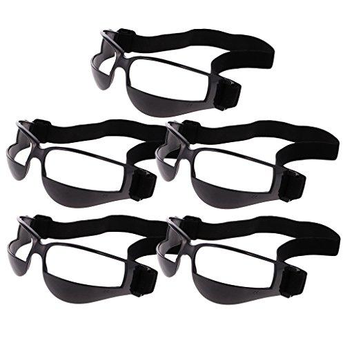 B Baosity 5er Set Basketball Dribble Brillen Sport Dribbelbrille Eyewear für Trainingshilfe - 5pcs Schwarz