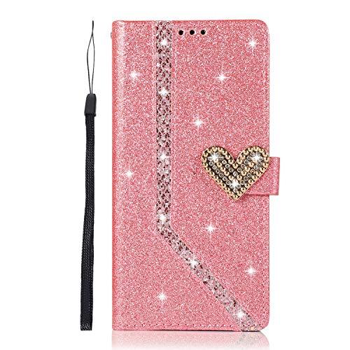 Unichthy iPhone 11 Hülle alle Glitzer für Mädchen Bling Love Heart 3D Edelsteine Stoßfest PU Leder Wallet Flip Magnetic Schutzhülle Folio Book Covers für iPhone 11 Pink