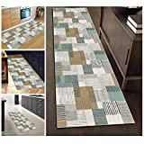 Filjr Alfombra de pasillo para pasillos de cocina, patrones geométricos, antideslizante, lavable, impresión hecha a máquina, alfombra de poliéster personalizable (tamaño: 80 x 150 cm)
