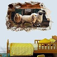 NIUASH ウォールステッカー 農場の動物羊ラム納屋ウォールステッカーデカールアート壁画印刷ポスター装飾60x90cm