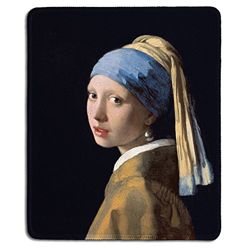 dealzEpic - Art Mousepad - Natural Rubber Mouse Pad with Famous Fine Art Painting of Girl with a Pearl Earring by Johannes Vermeer - Stitched Edges - 9.5x7.9 inches