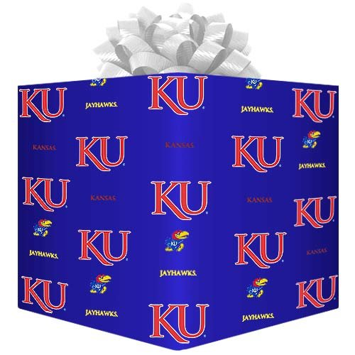 Football Fanatics NCAA Kansas Jayhawks Logo Gift Wrap Paper - Royal Blue