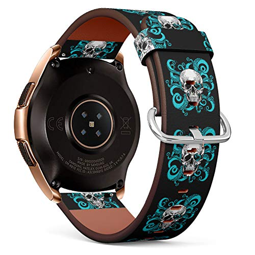 R-Rong kompatibel Watch Armband, Echtes Leder Uhrenarmband f¨¹r Samsung Galaxy Watch 42MM - Hand Drawn Vintage Style Skull and Tentacles of The Octopus