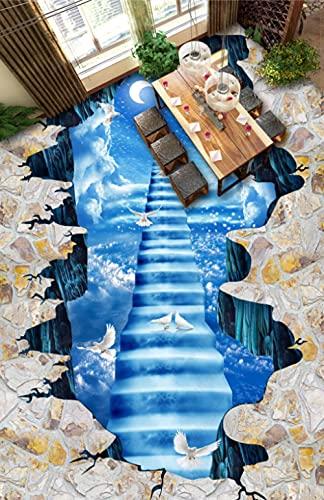 Suelo De Pvc 3D Impermeable Mural De Pared Personalizado Pintura De Suelo Papel Fotográfico De Murales De Pared 3D Cielo Luna-200Cmx140Cm