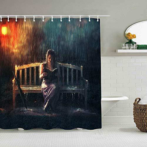 OPQRSTQ-O Personalisierter Duschvorhang,Frau Regen Mädchen Bank Lesebuch in Regensturm Regenschirm dunstige Lampe Moderne Kunst,wasserabweisender Badvorhang für das Badezimmer 180 x 210cm