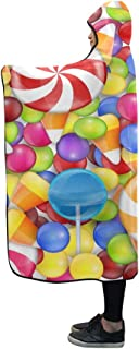 Hooded Blanket Sweets Background with Lollipop Candy Corn and Gu Blanket 60x50 Inch Comfotable Hooded Throw Wrap