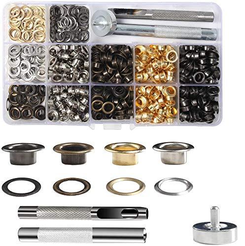 VGOODALL Ösen Werkzeug Kit,400 Set Ösen Scheiben in 4 Farben mit 3tlg Werkzeugset für DIY Leder Handwerk Stoff